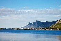 Fjord near Ramberg, Flakstadoya island, Lofoten Islands, North Norway, Norway