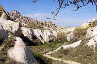 Mountainbiker in the Rose_Valley, Uchisar, Goereme, Cappadocia, Turkey