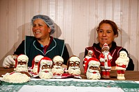 Women making chocolate Santa Clauses, Concepcion, Chile, South America