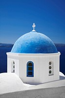 Blue dome of a chapel, Oia, Santorini, Cyclades, Greece, Europe