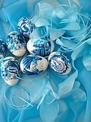 beautiful easter eggs on blue background