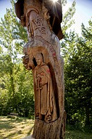 Sculpture of St. James, Priaranza del Bierzo, Camino Frances, Way of St. James, Camino de Santiago, pilgrims way, UNESCO World Heritage, European Cult...