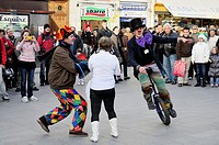 Street performers, Clowns Without Borders in the Puerta del Sol of Madrid