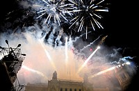 Fireworks during the cabalgata de los Reyes Magos (Cavalcade of Magi) held on January 5. Paseo de la Castellana, Plaza de Cibeles, Madrid, Spain
