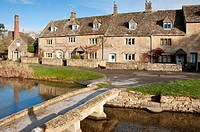 The scenic Cotswold village of Lower Slaughter in Gloucestershire, England