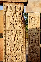 Close view of stupa 2 carved medallions decorate surrounding walls , Sanchi 46Kms northeast of Bhopal , Madhya Pradesh , India