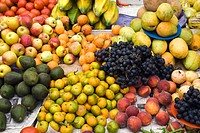Assorted fruit in market stall