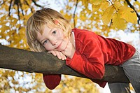 Little girl on a branch