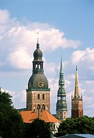 Latvia, Riga, church spires, skyline.