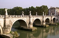 Rome Italy  Bridge of Sant ´Angelo on the Tiber River in Rome