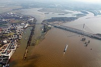 Aerial view, draining off high water, Rhine flood at Wesel Lippe, river Lippe estuary, Rhine bridge, Wesel, Niederrhein region, Ruhrgebiet region, Nor...
