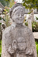 Carved statue of a Chinese woman, Small Goose Pagoda Park, Xi&#8217;an, Shaanxi Province, China