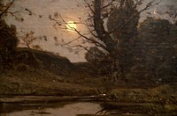 Detail: Moonrise, 1885, by Henri-Joseph Harpignies French, 1819-1916, Oil on canvas 34 1/2 x 64 1/4 in  87 6 x 163 2 cm, Metropolitan Museum of Art, N...