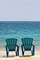 Blue Beach Chairs, Cat Island in Bahamas