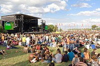 Crowd in a concert at the 25 de Abril Stage in Festa do Avante, the largest and most important annual Political-Cultural event that occur in Portugal ...