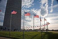 Flags flying around the Washington Monument