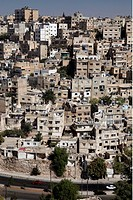 A city view with dwelling houses in the middle of the city of Amman of the capital of Jordan in Arabia.