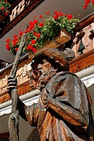 Germany Bavaria Garmisch-Partenkirchen Grainau wood carved statue Bavarian Mountain Man