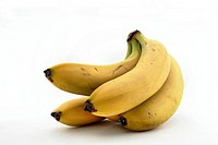 A bunch of bananas on a white background