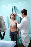 Young woman receiving x-ray scan