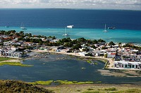 The island scenery of the village island grain Roque of the island group Lot Roques in the Caribbean before Venezuela in South America.