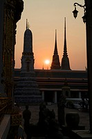 Sunset at Wat Po Temple, Bangkok, Thailand, Asia
