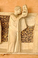 Figure of a relief, Office of the Dead on the tomb of the notary Annibaldi, cloister, Basilica San Giovanni in Laterano, Rome, Lazio, Italy, Europe