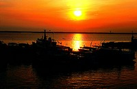 Sun, Boats, Negro River, Manaus, Amazonas, Brazil