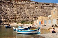 Inland sea, Azure Window in Dwejra bay, Gozo, Malta, island of Calypso nymph