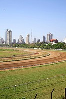 Horse Race Course and skyscraper , Mahalakshmi , Bombay Mumbai , Maharashtra , India
