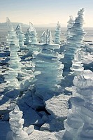 Man_made ice towers on frozen lake Chiemsee, Chiemgau, Upper Bavaria, Germany, Europe