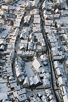 Aerial photo, historic town centre and city walls of Bad Laasphe in the snow in winter, North Rhine_Westphalia, Germany, Europe