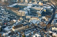Aerial photo, medium-sized business Viega in the snow in winter, Attendorn, North Rhine-Westphalia, Germany, Europe