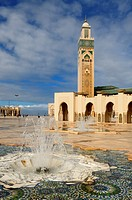 Minaret and fountains at the Hassan II Mosque in Casablanca Morocco