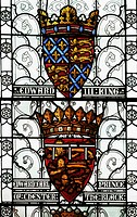 Stained glass window depicting coat of arms of King Edward III and Edward Earl of Chester, the Black Prince in The Great Hall, Winchester, Hampshire, ...