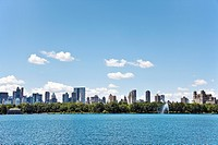 Central Park with view of New York City skyline in background, New York, USA