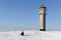 Feldbergturm Tower and snowmobile on Mt Feldberg, southern Black Forest, Baden-Wuerttemberg, Germany, Europe