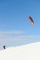 Snowkiting, snowkiter, Black Forest, Baden_Wuerttemberg, Germany, Europe