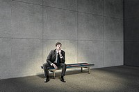 businessman sitting on bench, computer_generated