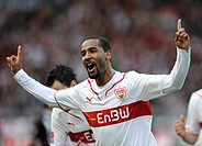 National player CACAU, VfB Stuttgart, celebrating a goal