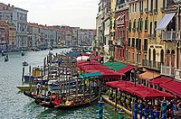 Gondolas Cafe and Buildings by Rialto Bridge Grand Canal Venice Veneto Region Italy