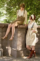 Two women dressed in vintage style