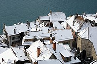 Snow-covered roofs of houses in Saint-Saphorin at Lake Geneva, Lavaux, Switzerland