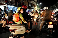 Street scene at night, Hanoi, North Vietnam, Vietnam, Southeast Asia, Asia