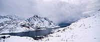 View towards village of Maervoll in Winter, Vestv&#229;g&#248;y, Lofoten islands, Norway
