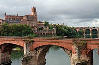 Sainte Cecile cathedral and old bridge over Tarn river, Albi, Tarn, France