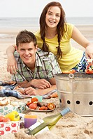 Teenage Couple Enjoying Barbeque On Beach Together