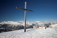 Cross, panoramic viewing point, Seefeld Joch, Karwendel Range, Tyrol, Austria, Europe