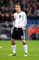 Lukas Podolski, soccer friendly game, Germany - Ivory Coast 2-2 at the Veltins-Arena in Gelsenkirchen, North Rhine-Westphalia, Germany, Europe