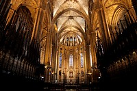 Interior of Barcelona Cathedral Church in Catalonia, Spain